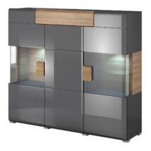Toledo komód 3 ajtós (1 vitrines) 1 fiókos antracit
