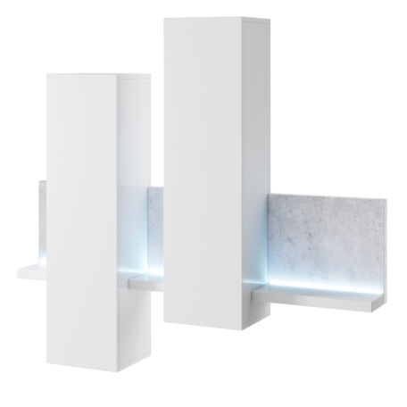 Bota fali szett LED-világítással fehér-beton