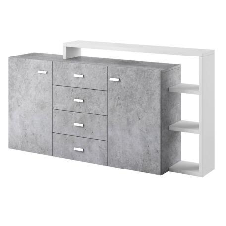 Bota komód polccal 2 ajtós 4 fiókos fehér-beton