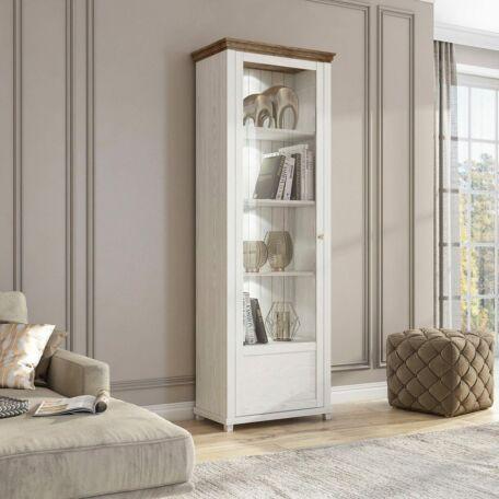 Evora vitrines szekrény 1 ajtós balos fehér