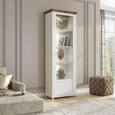 Evora vitrines szekrény 1 ajtós jobbos fehér